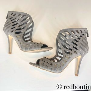 BCBG Generation grey caged open toe booties 6